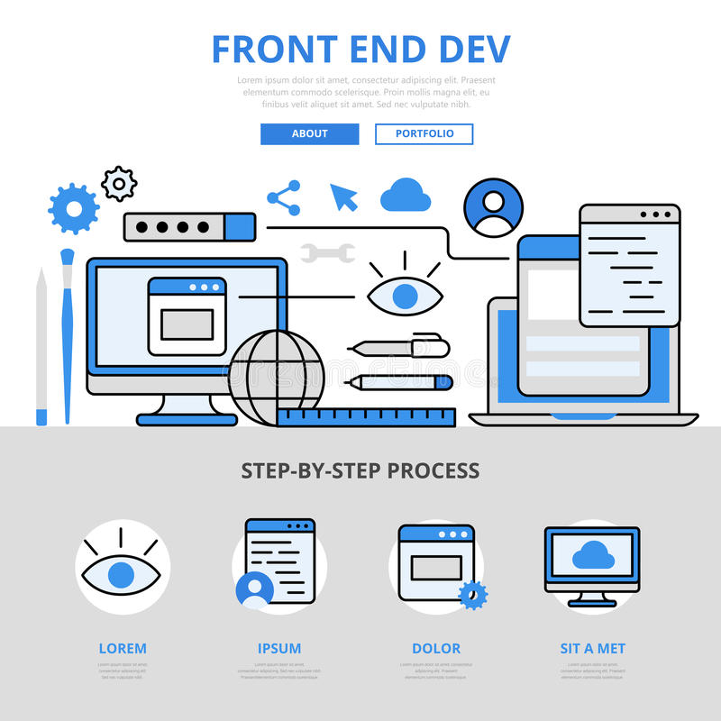 Frontend development concept flat line art vector icons. Frontend development front end dev app application software GUI UI UX interface concept flat line art stock illustration