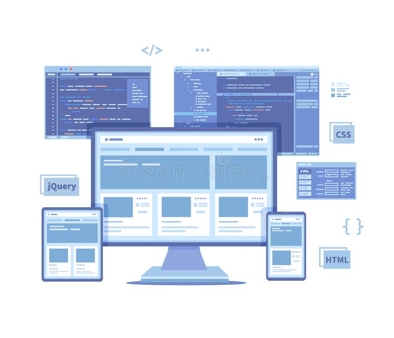 Frontend Development, Creating a site layout, template. Website UI UX interface on a monitor screen, tablet, phone, html css js. Programming code. Vector royalty free illustration
