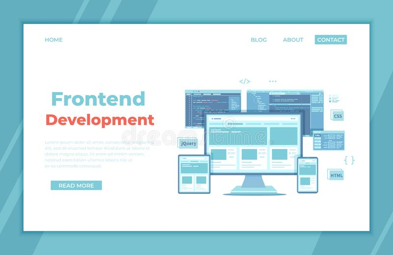 Frontend Development, Creating a site layout, template. Website UI UX interface on a monitor screen, tablet, phone, html css js. Programming code. landing page vector illustration