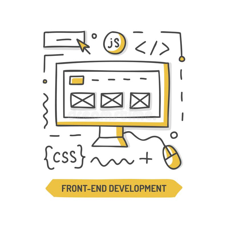 Frontend development doodle. Front-end development doodle icon. Website cteation. Hand drawn vector illustration vector illustration
