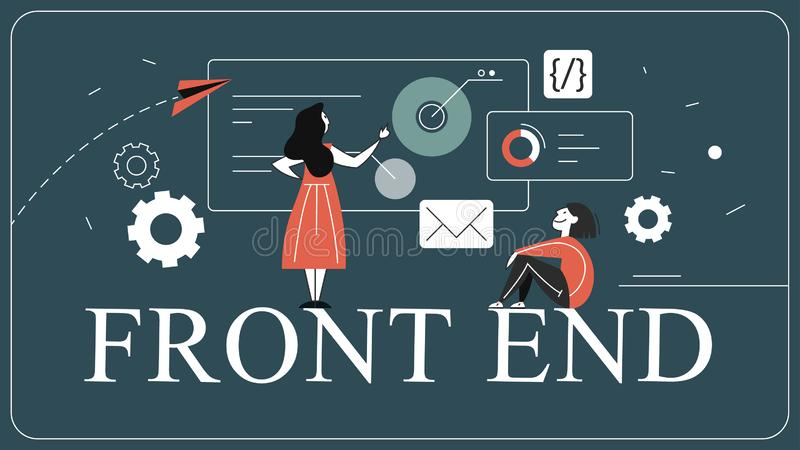 Frontend development web banner concept. Website interface. Design improvement. Developer looking at the graph. Isolated flat vector illustration royalty free illustration