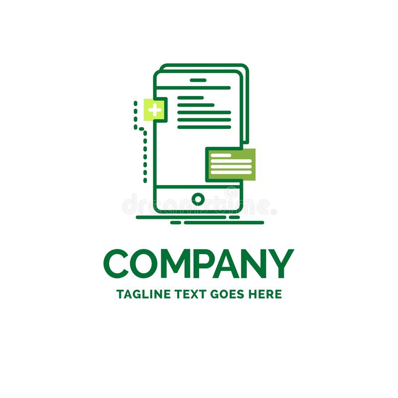 Frontend, interface, mobile, phone, developer Flat Business Logo. Template. Creative Green Brand Name Design stock illustration