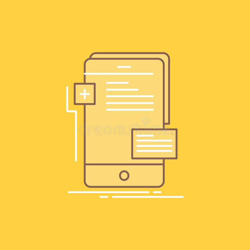 Frontend, interface, mobile, phone, developer Flat Line Filled Icon. Beautiful Logo button over yellow background for UI and UX,. Website or mobile application vector illustration