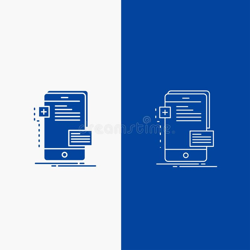 Frontend, interface, mobile, phone, developer Line and Glyph web Button in Blue color Vertical Banner for UI and UX, website or. Mobile application. Vector royalty free illustration