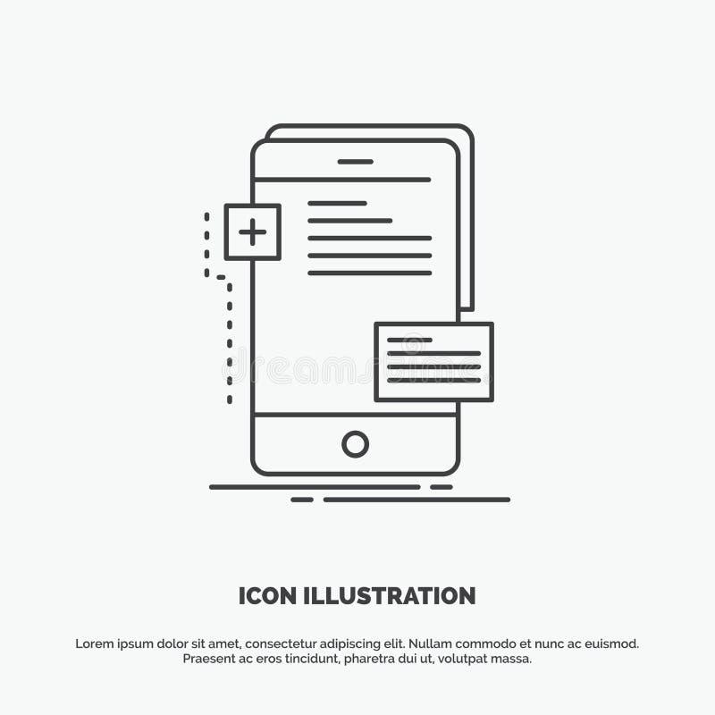 frontend, interfejs, wisząca ozdoba, telefon, przedsiębiorca budowlany ikona Kreskowy wektorowy szary symbol dla UI, UX, strona i royalty ilustracja