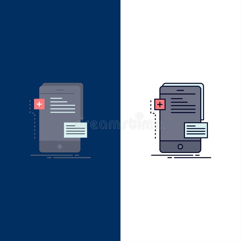 frontend, interfejs, wisząca ozdoba, telefon, przedsiębiorcy budowlanego koloru ikony Płaski wektor ilustracja wektor