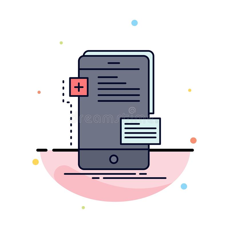 frontend, interfejs, wisząca ozdoba, telefon, przedsiębiorcy budowlanego koloru ikony Płaski wektor ilustracji