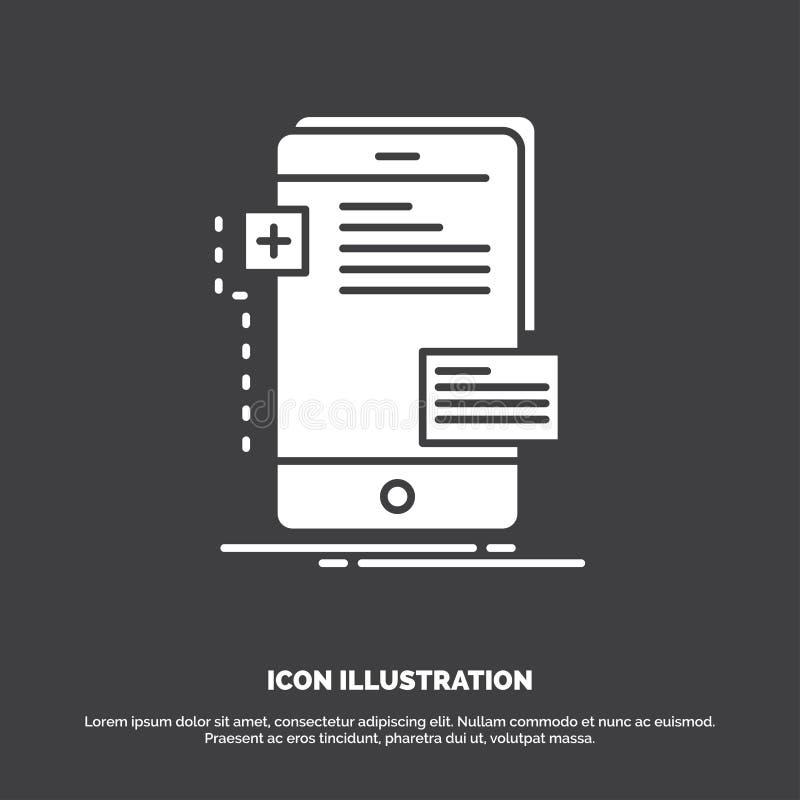 frontend, interfejs, wisz?ca ozdoba, telefon, przedsi?biorca budowlany ikona glifu wektorowy symbol dla UI, UX, strona internetow royalty ilustracja