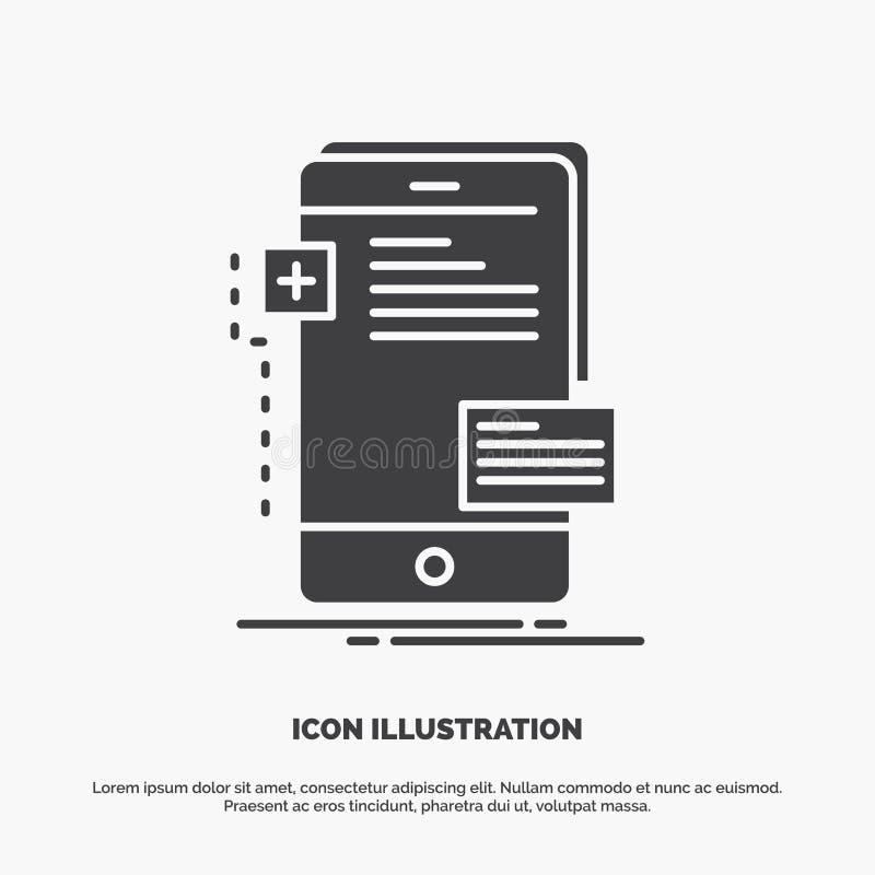 frontend, interfejs, wisz?ca ozdoba, telefon, przedsi?biorca budowlany ikona glifu wektorowy szary symbol dla UI, UX, strona inte royalty ilustracja