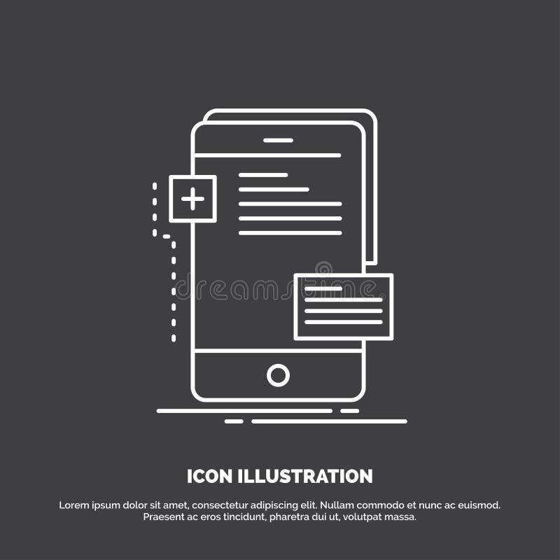 frontend, interfejs, wisz?ca ozdoba, telefon, przedsi?biorca budowlany ikona Kreskowy wektorowy symbol dla UI, UX, strona interne royalty ilustracja