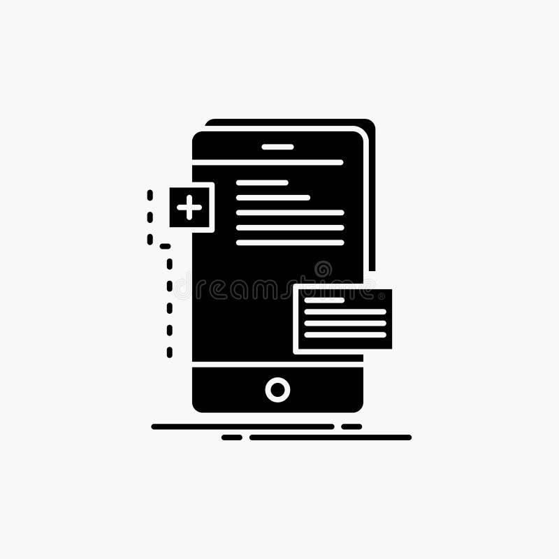 frontend, interfejs, wisz?ca ozdoba, telefon, przedsi?biorcy budowlanego glifu ikona Wektor odosobniona ilustracja ilustracji