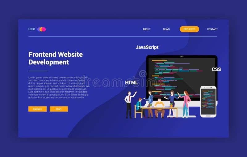Frontend strony internetowej programowania lądowania strony kampanii projekta strona internetowa - wektorowa ilustracja ilustracja wektor