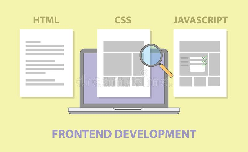 Frontend website development compare comparison html css javascript. Illustration royalty free illustration