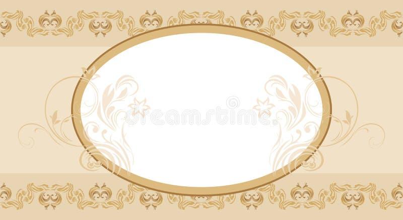 Frontera árabe inconsútil ornamental beige con el marco stock de ilustración