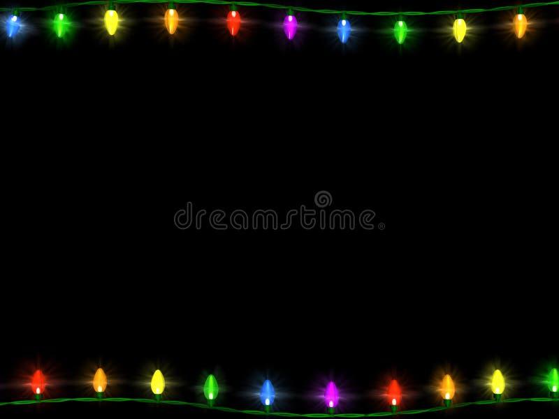 Frontera 1 de las luces de la Navidad stock de ilustración