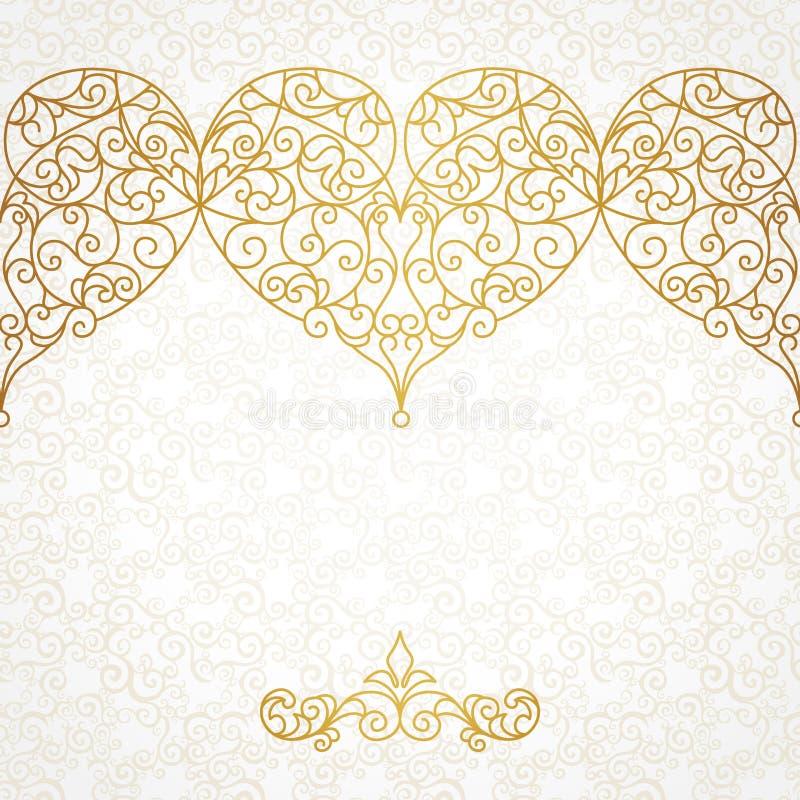 Frontera adornada del vector con los corazones en la línea estilo del arte stock de ilustración
