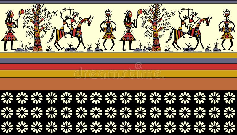 Frontera africana colorida stock de ilustración