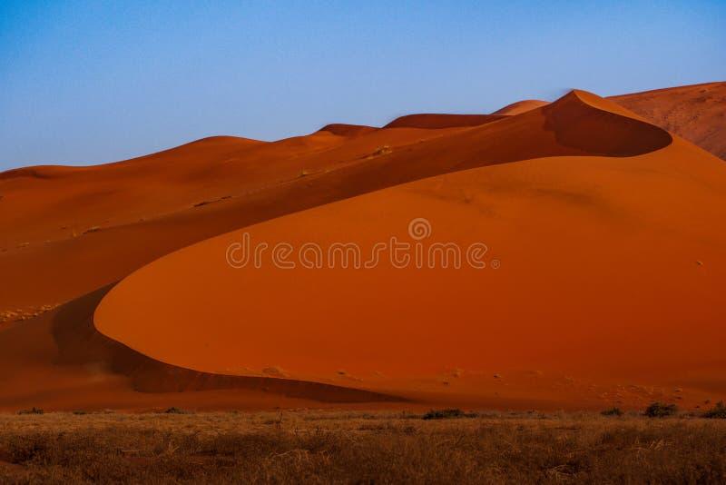 Frontera aguda de la luz y de la sombra sobre la cresta de la duna El Namib-Naukluft en la puesta del sol Namibia, Sur?frica El c foto de archivo