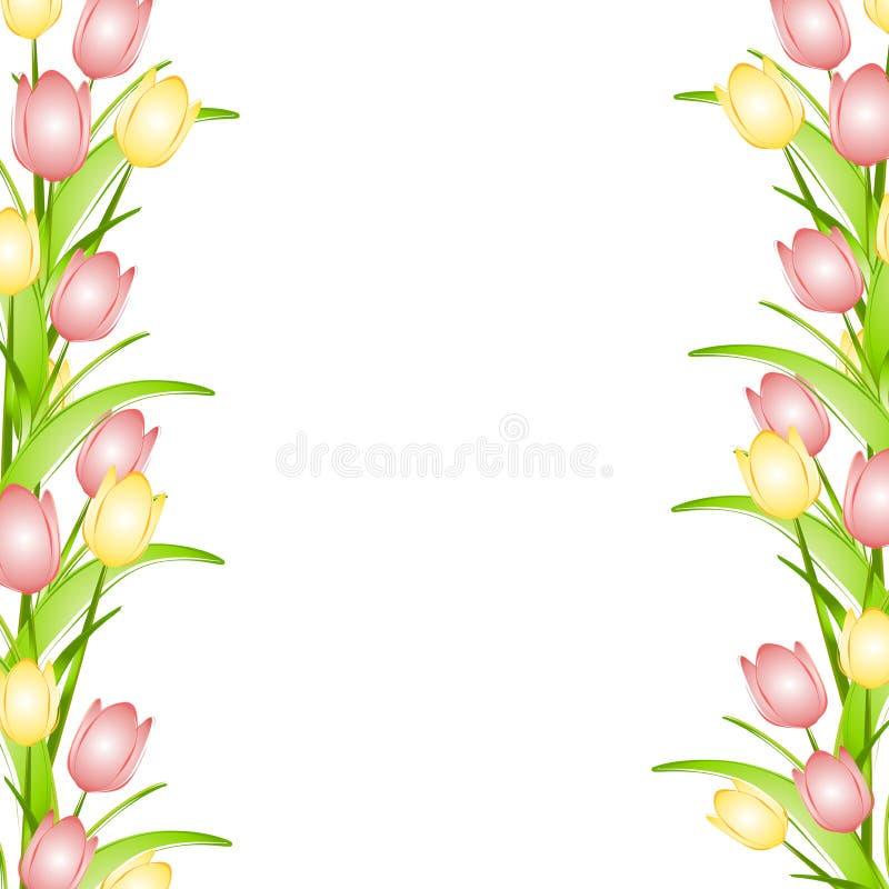 Frontera amarilla rosada de la flor de los tulipanes del resorte stock de ilustración