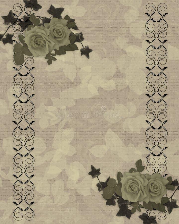 Frontera antigua de las rosas ilustración del vector