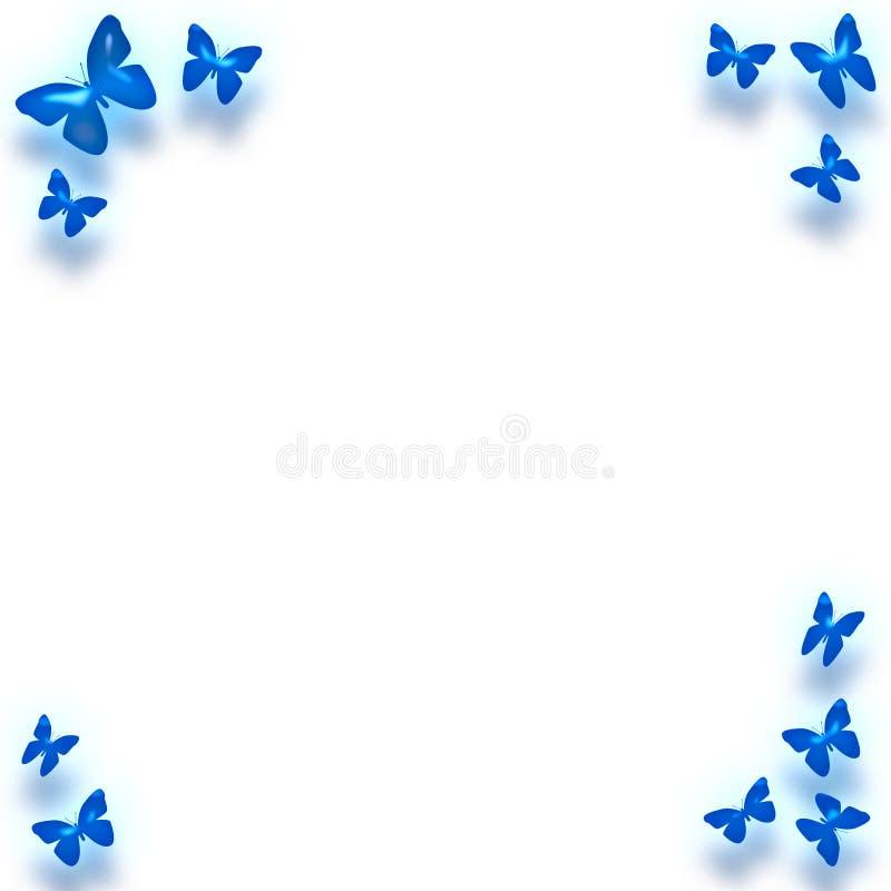 Frontera azul de la mariposa ilustración del vector