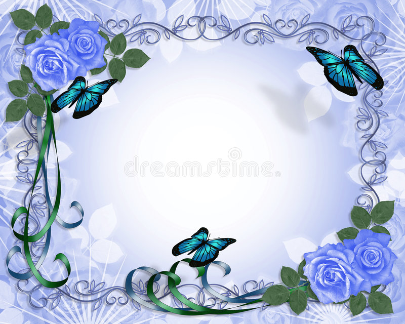 Frontera azul de las rosas de la invitación de la boda libre illustration
