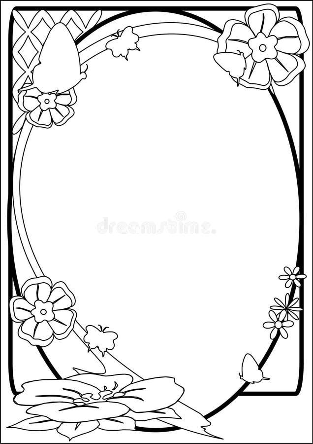 Frontera B&W de la mariposa y de la flor stock de ilustración
