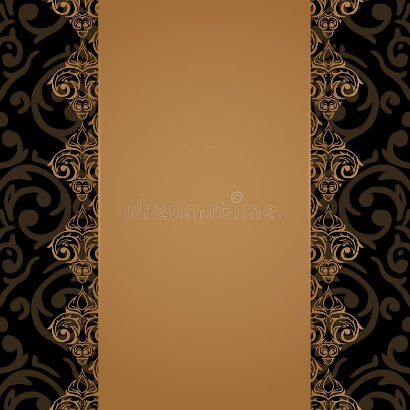 Frontera barroca inconsútil del lujo del damasco ilustración del vector