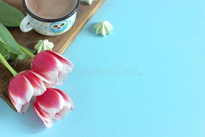 Frontera blanca blanca del tulipán rojo en la melcocha azul de la taza del cacao del fondo foto de archivo libre de regalías