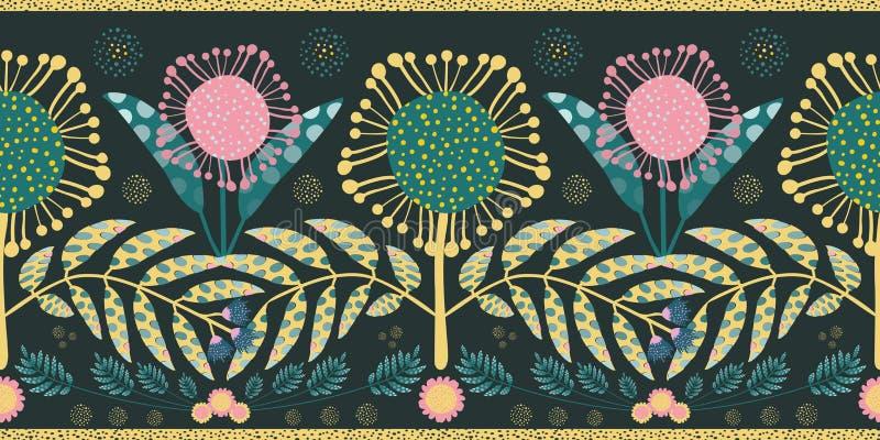 Frontera bohemia del estilo con rosa y flores y hojas del trullo Diseño geométrico inconsútil del vector con el oro que afila en  libre illustration