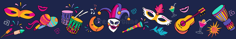 Frontera carnaval festiva inconsútil del vector colorido brillante, marco Los iconos determinados, partido del carnaval adornan F libre illustration