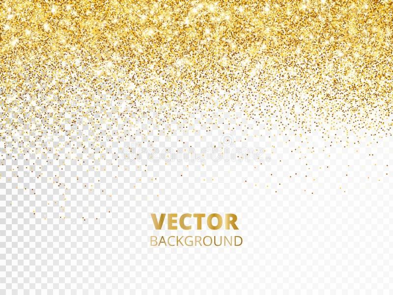 Frontera chispeante del brillo, marco Polvo de oro que cae aislado en fondo transparente Decoración del vector libre illustration