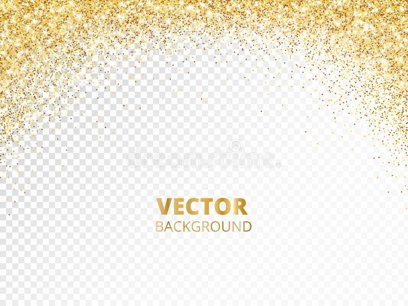 Frontera chispeante del brillo, marco Polvo de oro que cae aislado en transparente Decoración que brilla del oro del vector ilustración del vector