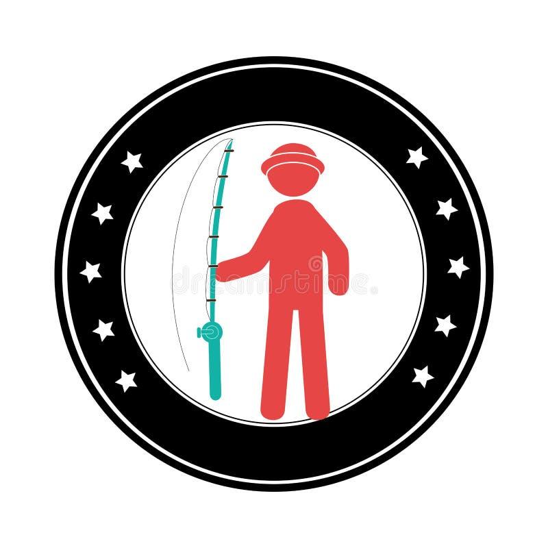 Frontera circular con el pescador de la silueta con la caña de pescar stock de ilustración