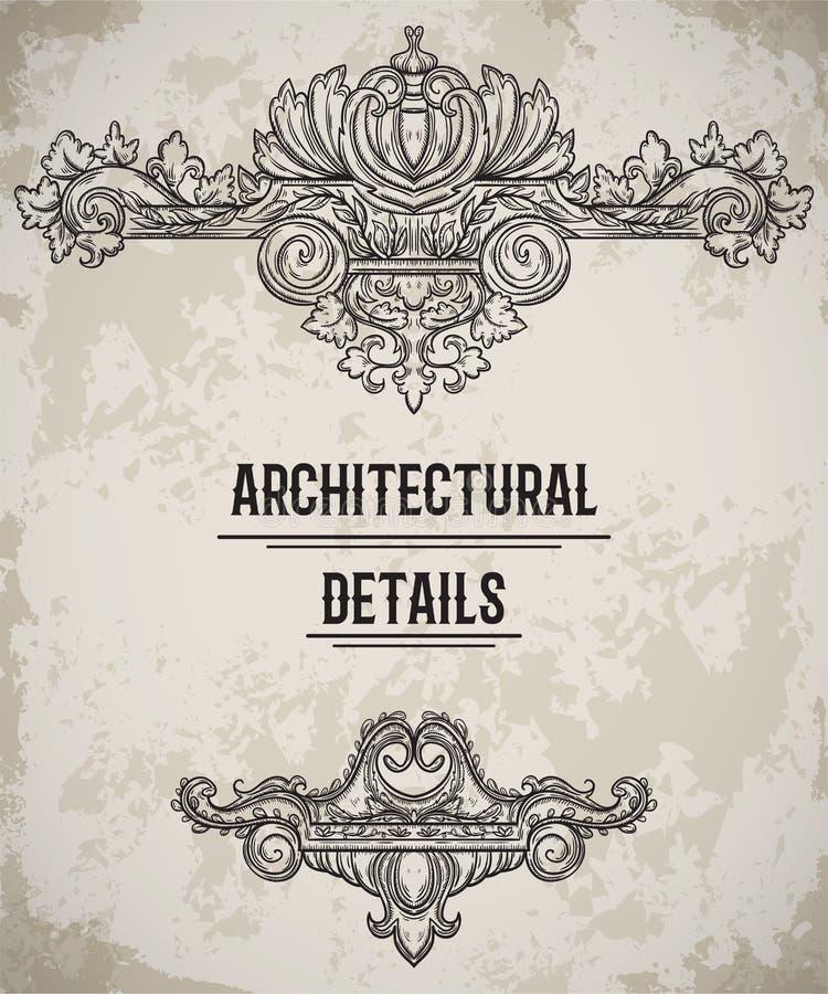 Frontera clásica barroca del estilo Cartouche antiguo Elementos arquitectónicos del diseño de detalles del vintage en fondo del g ilustración del vector