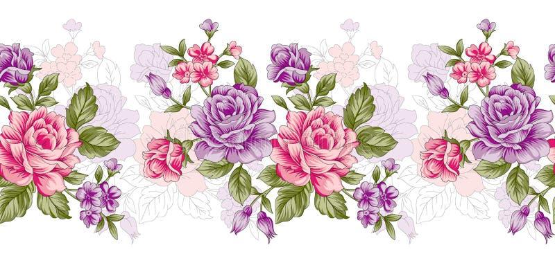 Frontera color de rosa inconsútil de la flor del vintage stock de ilustración