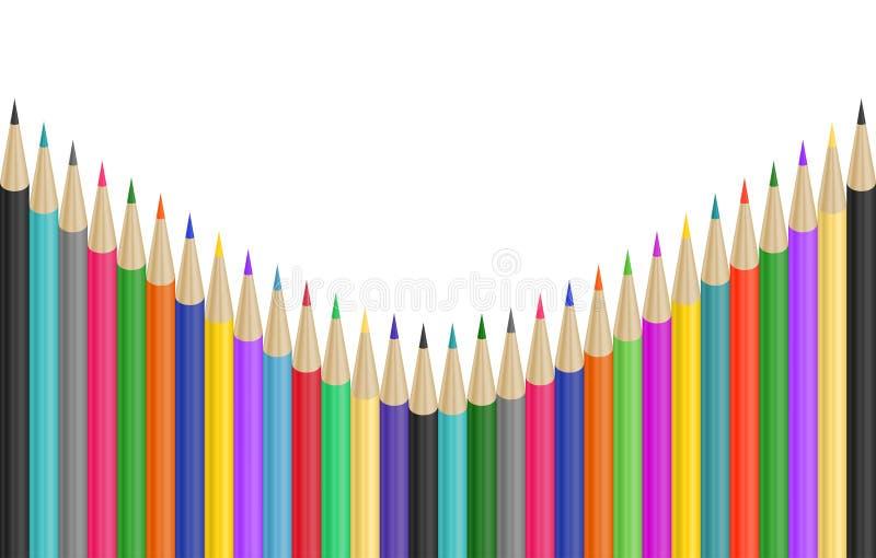 Frontera colorida de los lápices libre illustration