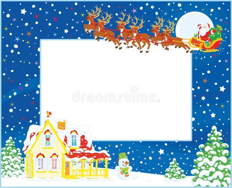 Frontera con el trineo de la Navidad de Papá Noel stock de ilustración