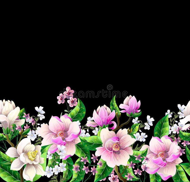 Frontera con las flores de la magnolia Ilustración del vector libre illustration