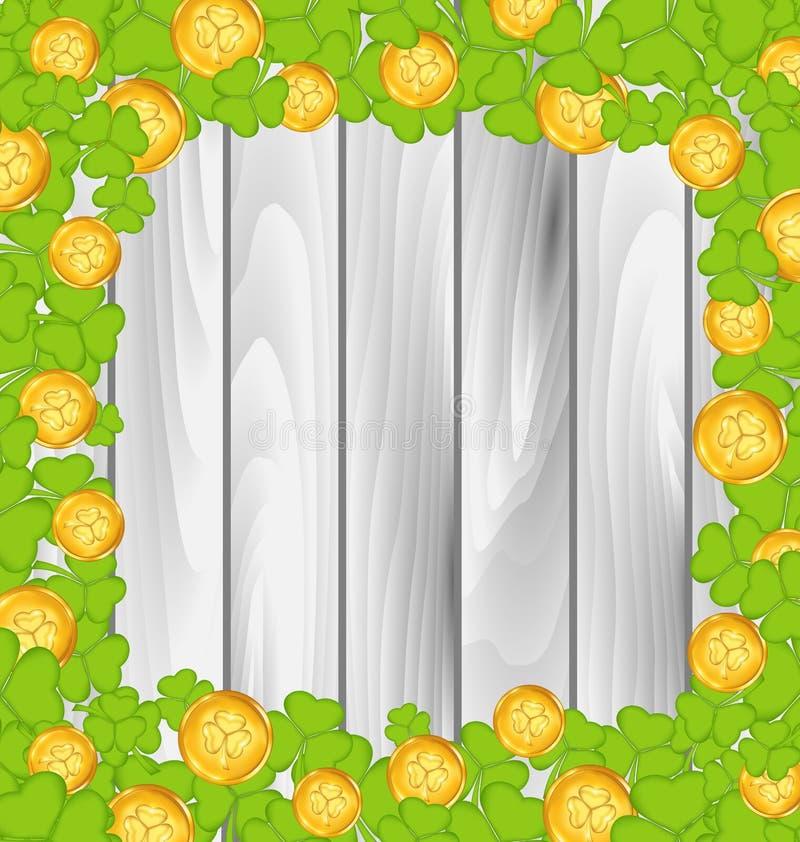 Frontera con los tréboles y las monedas de oro para el día de St Patrick ilustración del vector