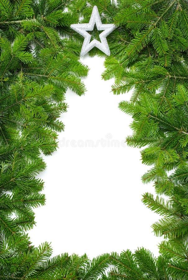 Frontera creativa del árbol de navidad imagen de archivo