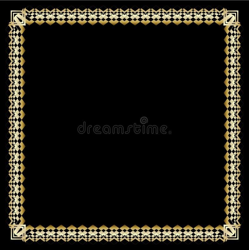 Frontera cuadrada con efecto grabado en relieve 3d Marco de oro lujoso adornado en estilo del art déco en fondo negro Laboratorio stock de ilustración