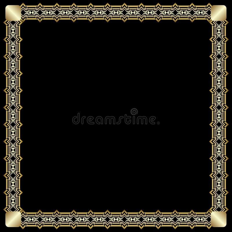 Frontera cuadrada elegante con efecto grabado en relieve 3d Marco de oro lujoso adornado en estilo del art d?co en fondo negro ilustración del vector