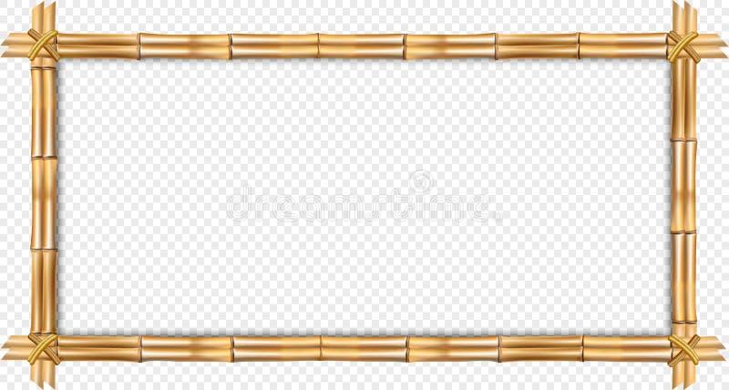 Frontera de bambú del marrón del rectángulo con el espacio de la cuerda y de la copia aislado stock de ilustración