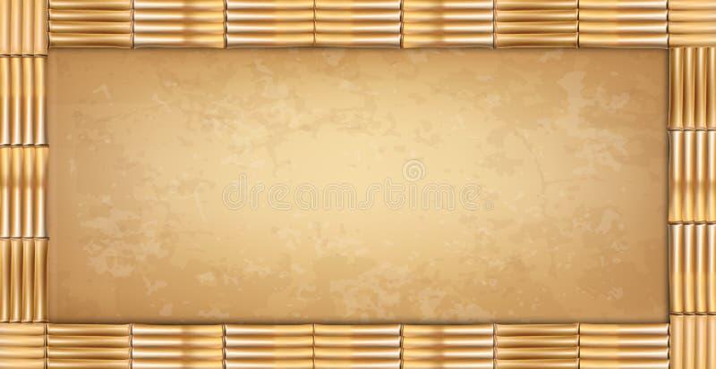 Frontera de bambú de los palillos del marrón del rectángulo del vector con el viejo papel o lona stock de ilustración