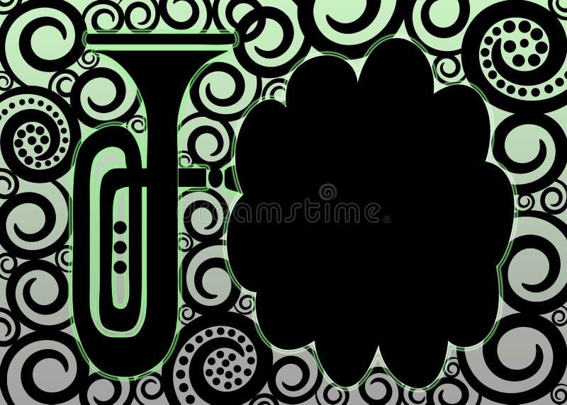 Frontera de cobre amarillo del cartel de la trompeta stock de ilustración