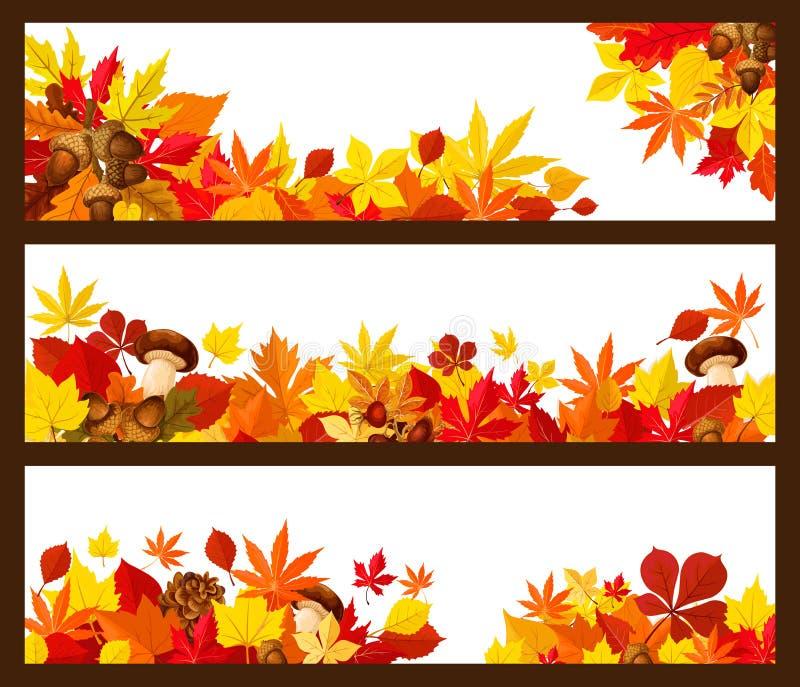 Frontera de la bandera de la hoja del otoño para el diseño de la temporada de otoño ilustración del vector