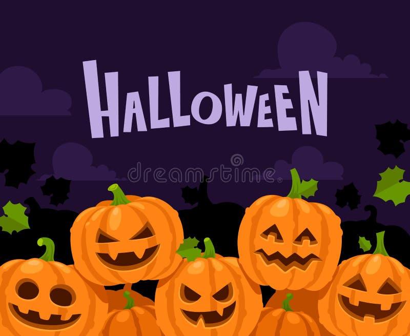 Frontera de la calabaza de Halloween Calabazas asustadizas en el marco de la decoración del sombrero de la bruja, ejemplo del fon stock de ilustración