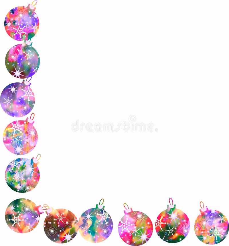 Frontera de la chuchería de la Navidad del Watercolour stock de ilustración