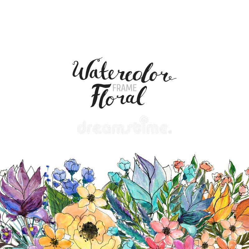 Frontera de la flor de la acuarela libre illustration